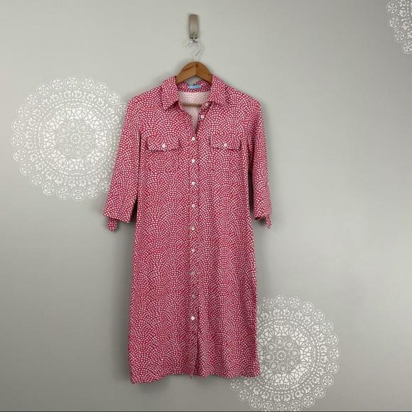 J. McLaughlin Coral Spotted Button Down Midi Dress